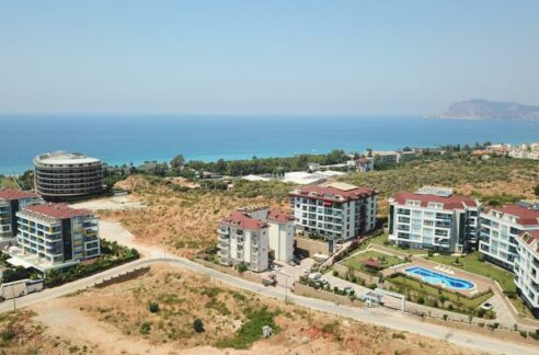 Fully Furnished Garden Duplex With Sea And Pool View In Kestel Alanya