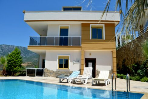 4 Bedroom Furnished Villa With Sea View For Sale In Alanya Kargıcak